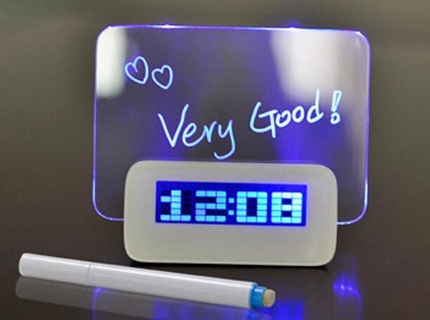 table desk digital alarm led clock with led message board