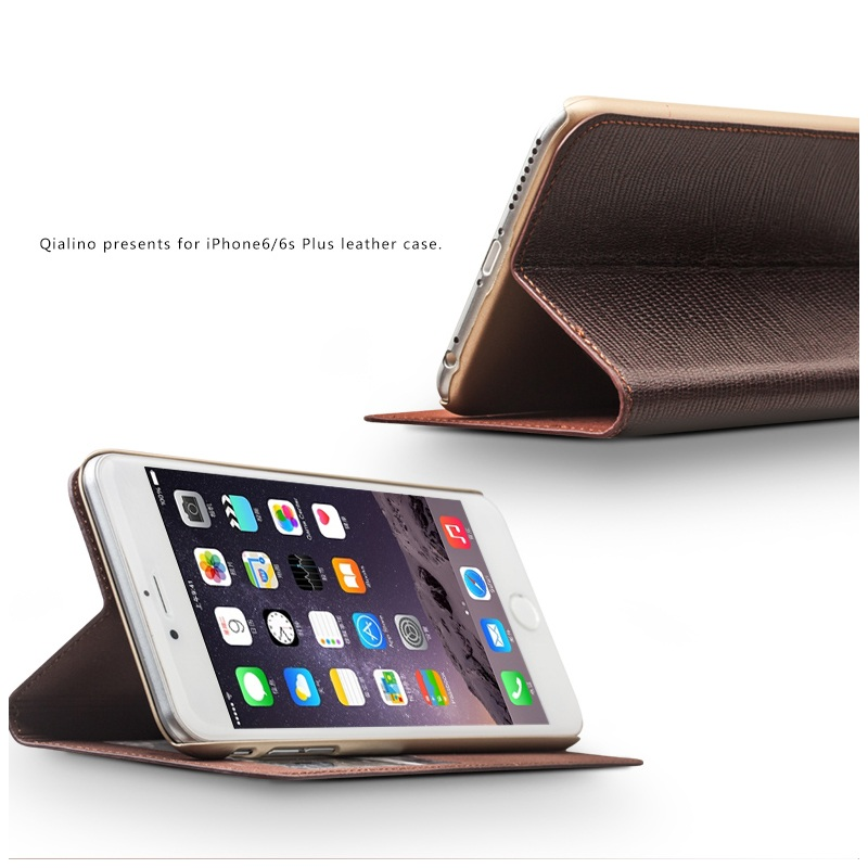 QIALINO Grid Top-layer Cowhide Window View Leather Case for iPhone 6s, top leather case for iphone 6 - Brown
