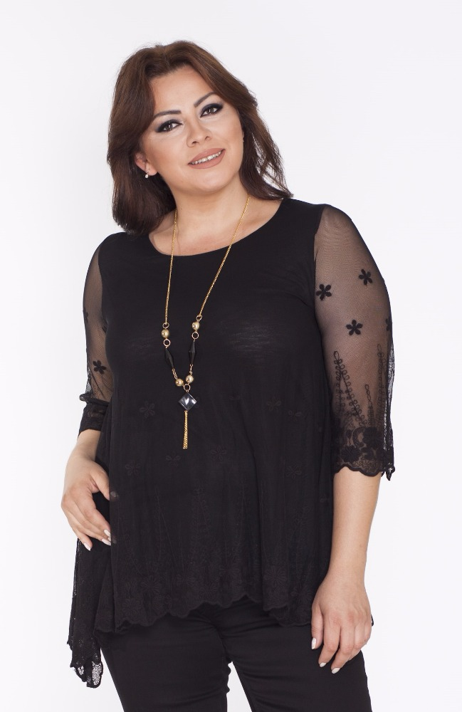 Top quality Plus Size Flower Design Lace Woman Tunic