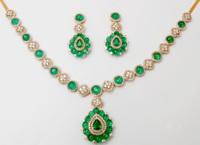 Latest Indian Handmade Emerald Beads Studded Yellow Gold Diamond Necklace