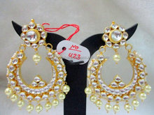 Bollywood Style Long Real KundanEarrings-Wholesale Indian Handmade Kundan Jewelry-Designer Real Kundan Earrings and Maang Tikka