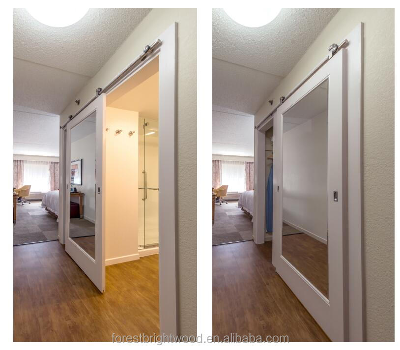 Hampton inn mirror sliding barn doors for bathroom and for Closet bathroom suites