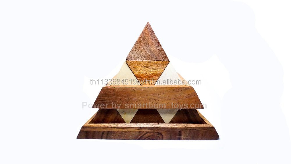 Stripe Triangle pyramid puzzles,Classic Wooden Games and Toys,Interlocking Puzzles,Brain Teasers,Handmade game,kid craft