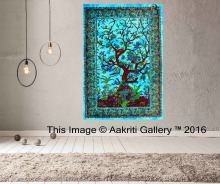 Indian Tapestry Tree of Life Throw Single Beach Turquoise Color indian wall hanging designs