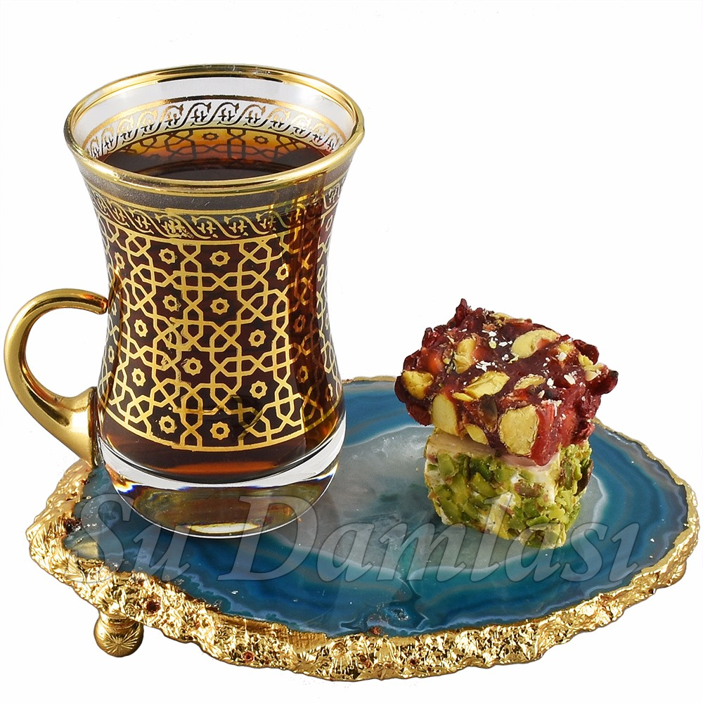 Hajar Tea Cup 130 ml, Coaster, Tea Glass and Saucer, Gold, Silver, Turkish Tea, Arabic Tea Sets, Luxury, Wholesale