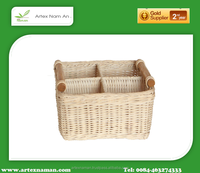 New design Square white rattan basket with Compartment and Handles from Vietnam