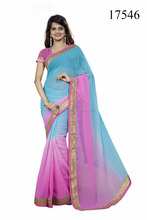 Party Wear Saree With Designer Blouse Material