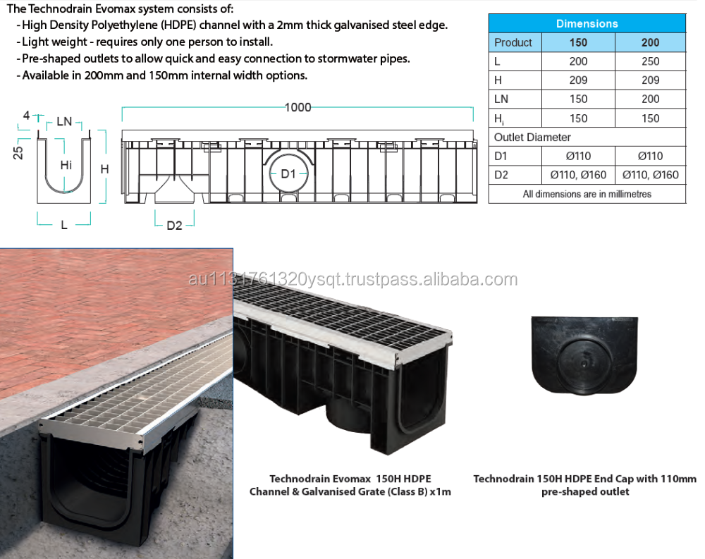 150H HDPE Stormwater Channel with Galvanised Class B Grate