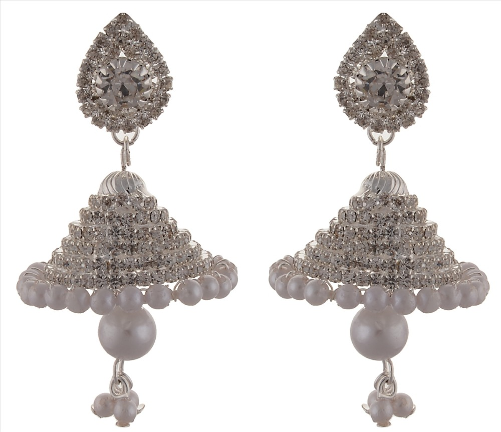 Zephyrr Fashion Silver Tone Light weight Jhumki Earrings with Stones Pearls
