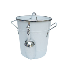 White Powder Coated Round Metal Ice Bucket with Lid