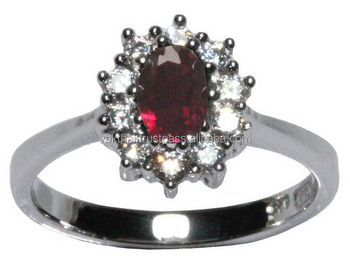 Sapphire Red Ruby Jewelry Rings With Thai Silver, Rhodium, Gold