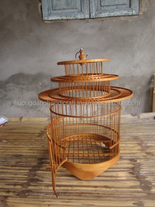 Competitive price natural bamboo bird cage, bamboo bird house