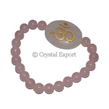 Rose Quartz Bracelets with Om : Gemstone Bracelets Exporters : Top Gemstone Bracelets