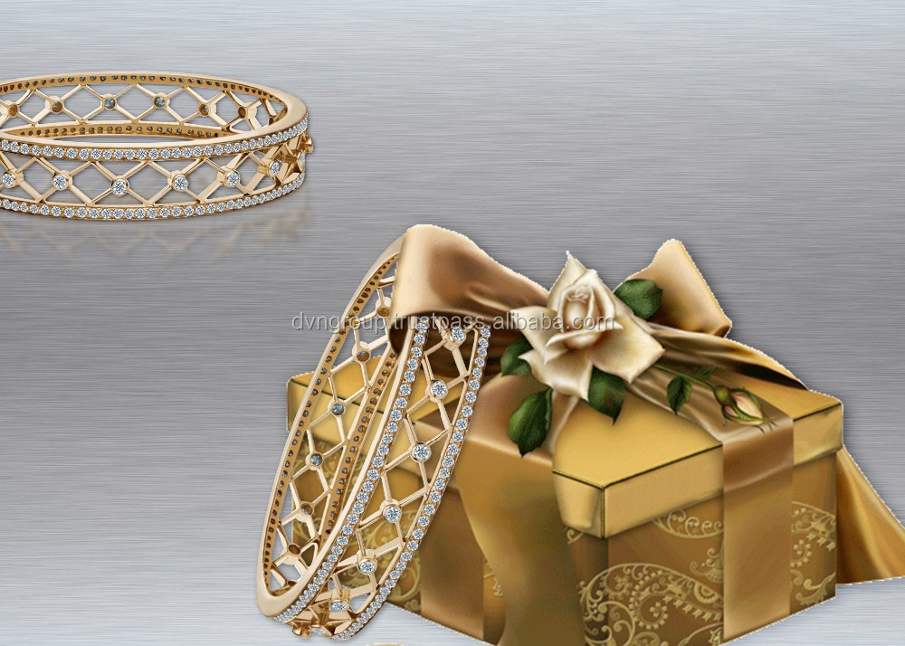 Gold Plated Gallery Bangles With Cubic Zirconia Stones