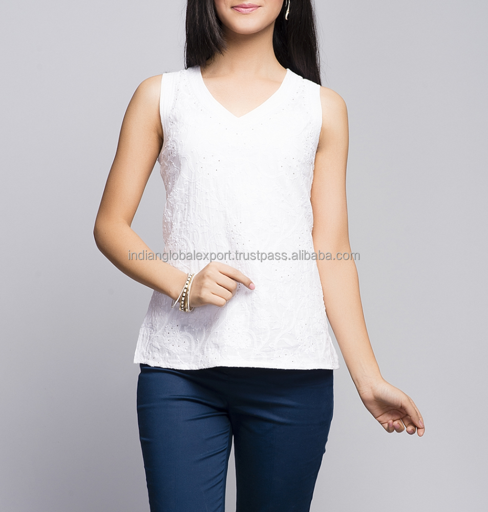 White Cotton All Over Chikankari Top for girls