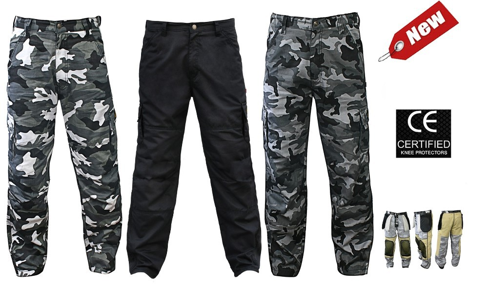 Motorbike Cargo & Camouflage Trousers with Protective Lining