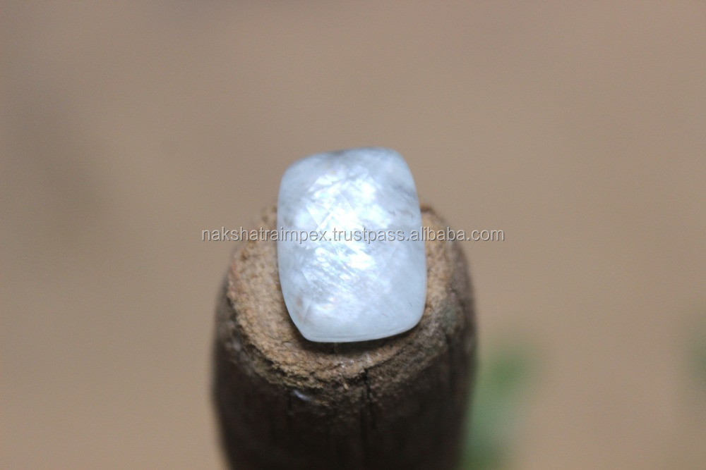 Rainbow Moonstone & Crystal Quartz Cushion Rectangle Faceted Doublet Loose Gemstone