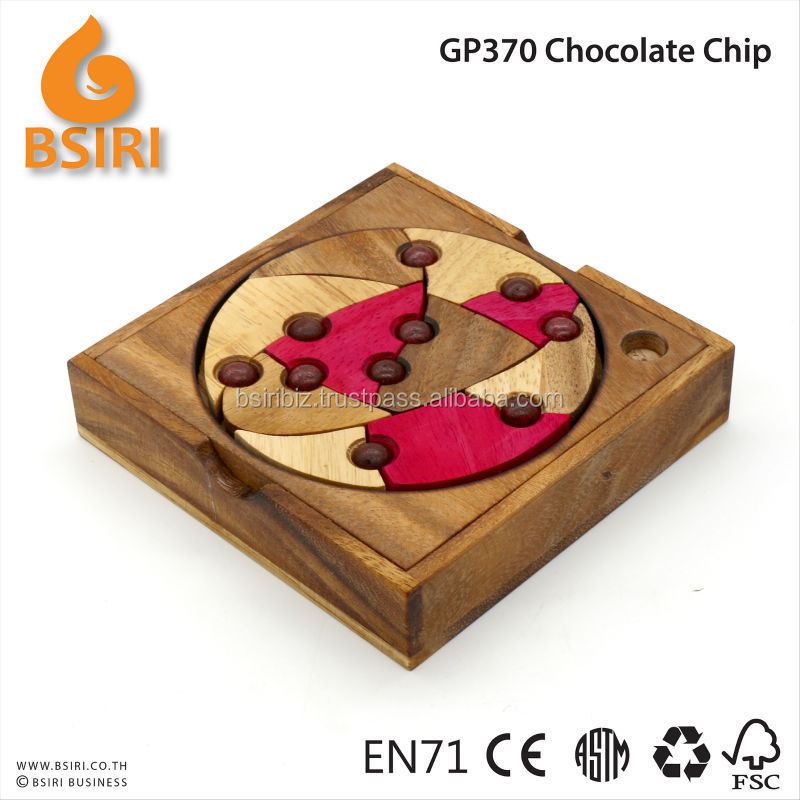 Chocolate Chip Hidden ball Game Wooden Brain Teaser Puzzle