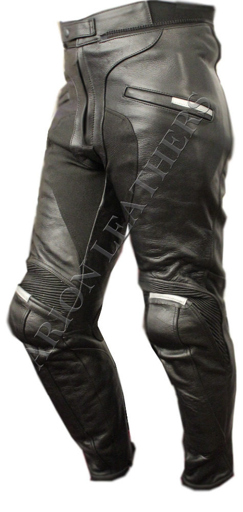 Black Top Quality Motorcycle / Motorbike Leather Trouser