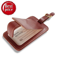 High Standardized Genuine Leather Luggage Tag / Brown Luggage Tag With Press Button Lock