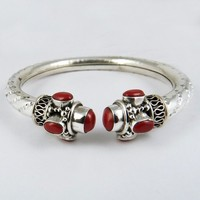 Power Love !! Coral 925 Sterling Silver Bracelet, Silver Jewellery Wholeseller, Silver Jewellery India