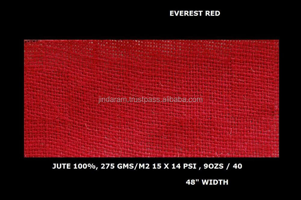 "Everest quality red color dyed jute laminated fabric 48"" Width"