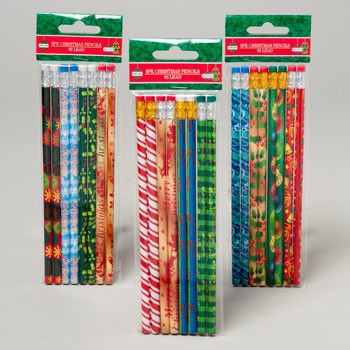 PENCILS 8CT CHRISTMAS 3AST/4 DESIGNS PER PACK #G91766