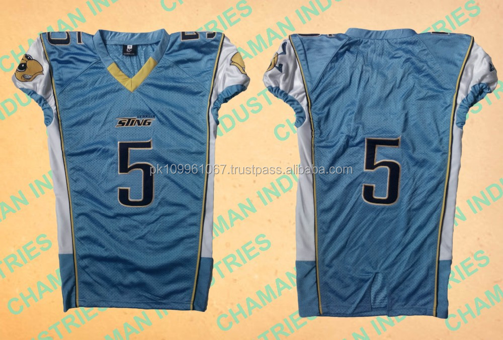 American football jersey with tackle twill