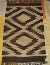 Indian Hand Loomed Vintage Kilim Design Jute Wool Yoga Mat/Decorative Products Reversible Boho Throw Area Rug,Carpet,Dhurries