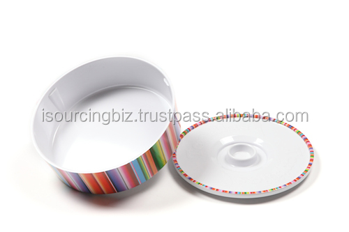 RTMO003 Melamine Round Candy Cooky Container 120x120x70mm Rainbow Print