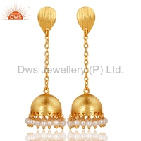 Textured Indian Traditional Jhumkas Earrings Gold Plated Brass Fashion Earrings Manufacturers of Natural Pearl Gemstone Jewelry