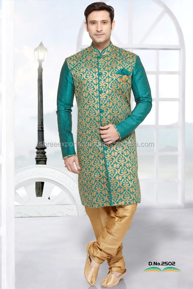 Beige Jacquard Art Silk Indo Western/ Designer Wedding Gents Kurta/ Kurta Designs For Men