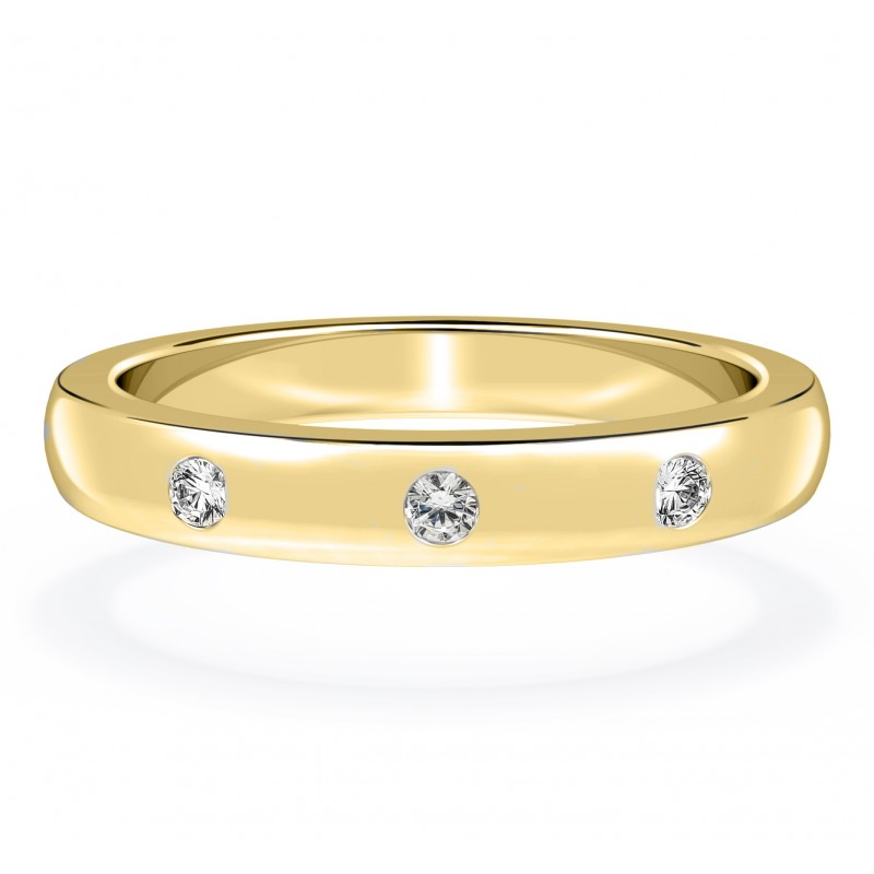 14Kt Yellow Solid Gold Real 0.10Ct Natural Diamond Studded Diamond Ring at Affordable Price
