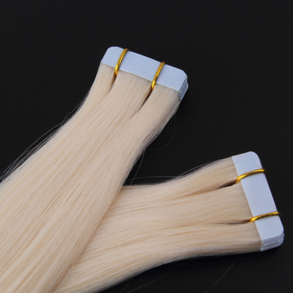 100% Blonde Remy Slavic tape hair extensions