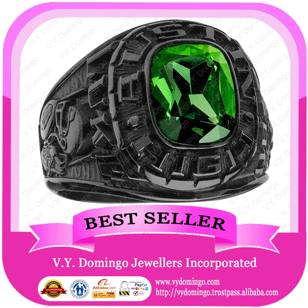 Gun plated peridot CZ stone high school championship rings for students