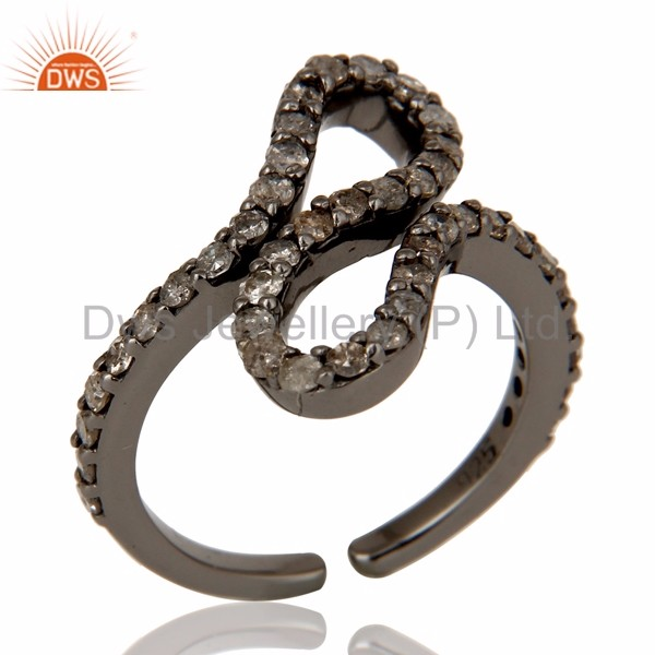 Black Rhodium Plated Silver Pave Diamond Midi Ring Manufacturer of Designer Diamond Jewelry