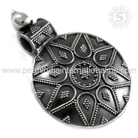 High Oxidized With Pertty Design Silver Pendant Handmade Silver Jewelry Supplier 925 Silver Jewellery