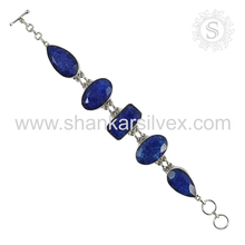 Heaven Blue Sapphire Bracelet 925 Silver Jewelry Wholesale Gemstone Silver Jewelry Manufacture