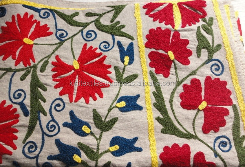 Red And white Suzani Work with green leaves cotton embroided fabric