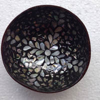 High quality eco friendly black lacquer mother of pearl inlay coconut bowl from Viet Nam