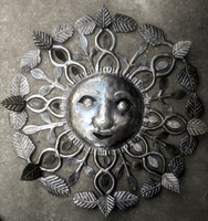 Metal Sun with Leaves Haitian Products Online Haitian Artists Oil Drum Art Metal Tree Wall Art, Size 60cm