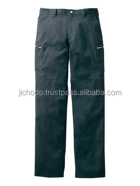 Herring-bone / Flat front cargo pants. Made by Japan
