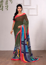 Saint Dark Sea Green Georgette Designer Saree/all types of indian sarees