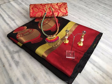cotton silk saree with brocket blouse with necklace with Fancy latkan