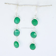 Green Onyx Designer Earring for Women 925 Sterling Silver,Three Stone Silver Earring 925 Sterling Silver Earring Fashions Earrin