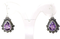 Beautiful Amethyst Pear Faceted Cut Gemstone 925 Sterling Silver Earring