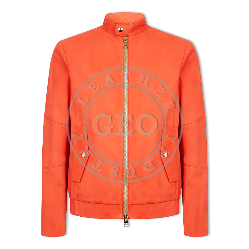 Orange Color High Quality Winter Fashion Leather Jackets For Gents