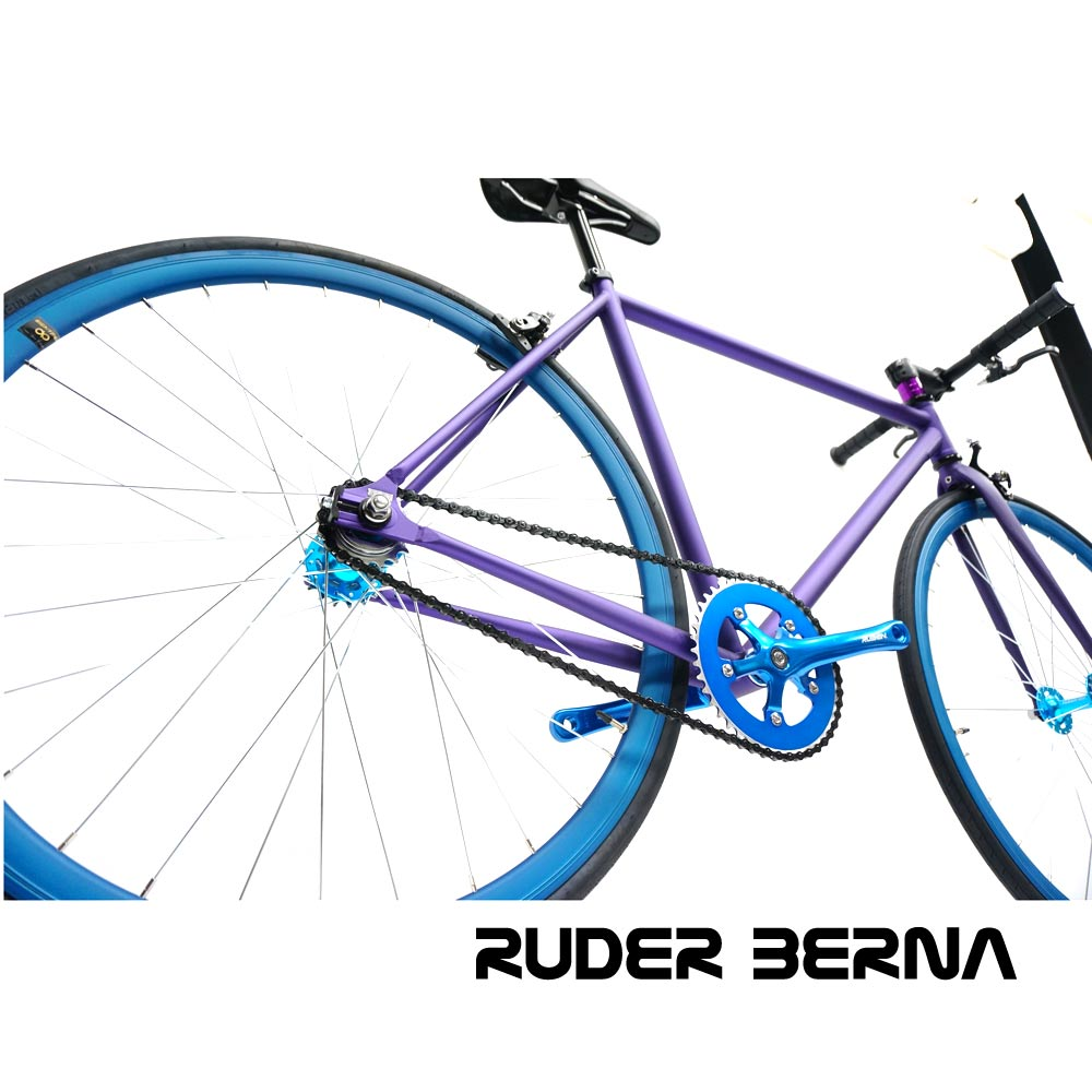 Purple Blue 700C fixed gear complete bike
