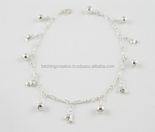 New Arrival Silver beaded pendant look metal anklet