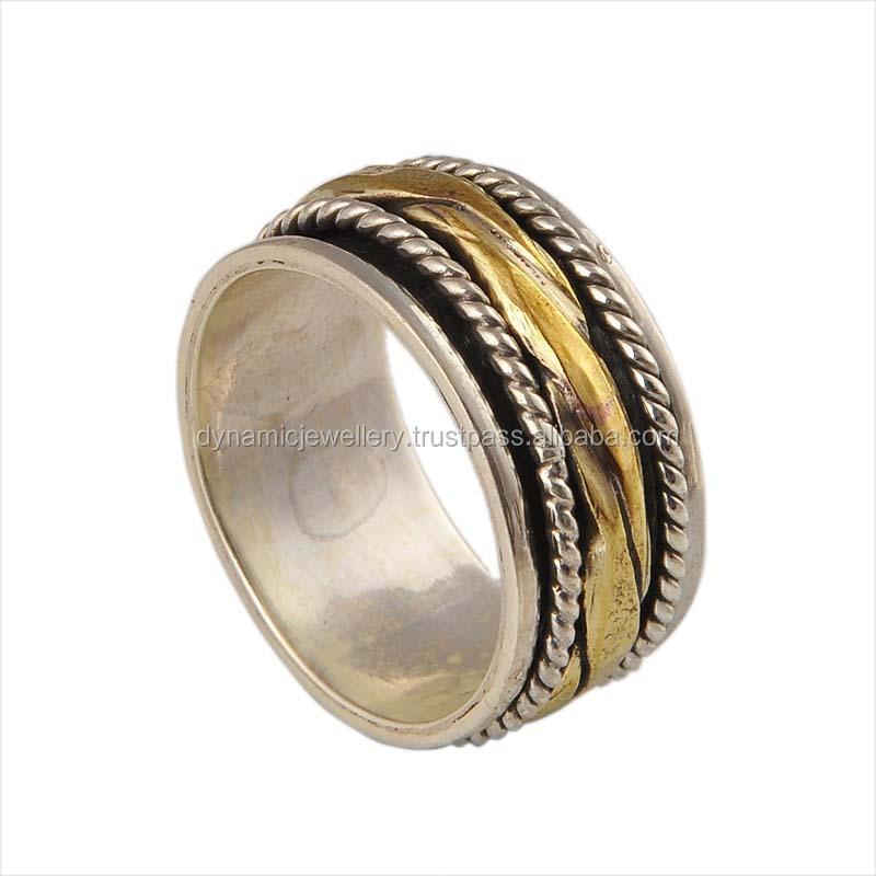 Copper Wedding Band 925 Sterling Silver Spinner Ring Jewelry GSR000080